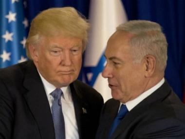 Donald Trump and Benjamin Netanyahu in Israel. AP