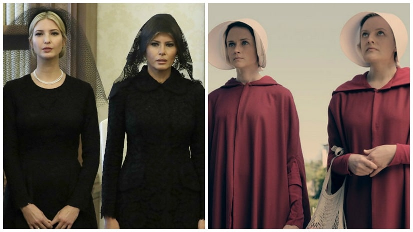 Mararet Atwood's The Handmaid's Tale, and its Hulu TV adaptation have never felt more relevant. Recently, Twitter was flooded with memes (later criticised) that compared Ivanka and Melania Trump to Handmaids, with them being referred to as 'Ofjared' and 'Ofdonald'. Photos: AP, Hulu