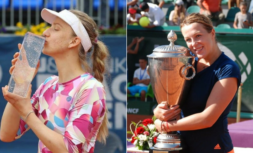 Mona Barthel and Anastasia Pavlyuchenkova with their respective trophies. Images from Twitter.