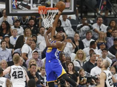 Golden State Warriors' Kevin Durant scores during Game 3 of the Western Conference finals. AP