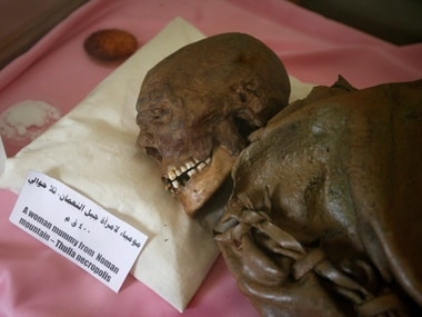 A mummy dating back to an ancient Yemen era is seen at a museum at Sanaa University, in Sanaa, Yemen. Reuters