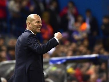 Real Madrid's coach Zinedine Zidane gestures on the sideline during the Champions League semi final. AFP
