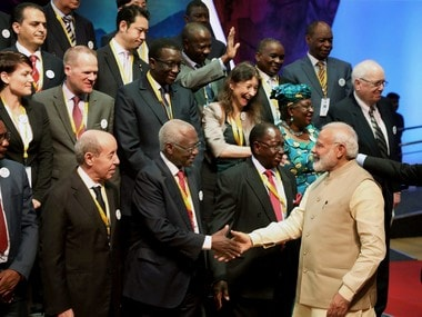 Prime Minister Narendra Modi greets delegates at the 52nd African Development Bank annual meeting, in Gandhinagar, Gujarat. PTI Photo