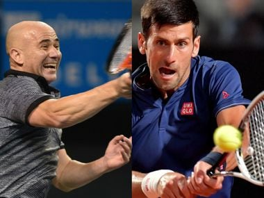 File photos of Andre Agassi (L) and Novak Djokovic. AFP