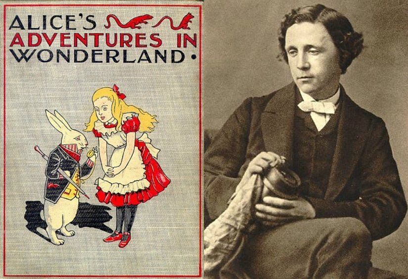 Alice in Wonderland and its author Lewis Carroll. Images from Facebook