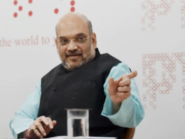 Amit Shah at a press conference in New Delhi. PTI