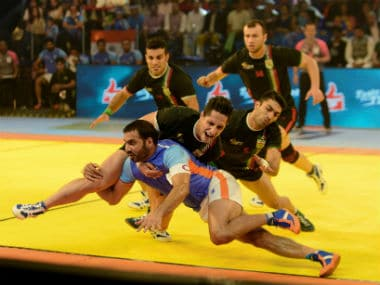 Anup Kumar (in blue) in action during the Kabaddi World Cup in 2016. AFP