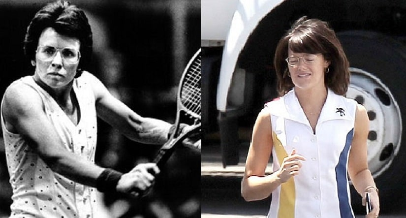 Billie Jean King in her hay days and Emma Stone on the sets of Battle of the Sexes. Image via Twitter.