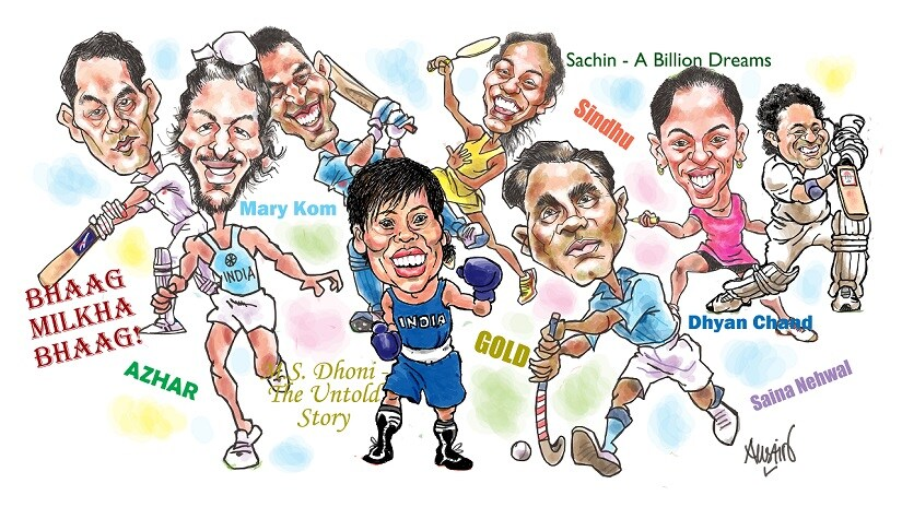 Apart from Sachin: A Billion Dreams, which releases on 26 May 2017, biopics on six other sports personalities are currently in the works. Illustration courtesy Austin Coutinho