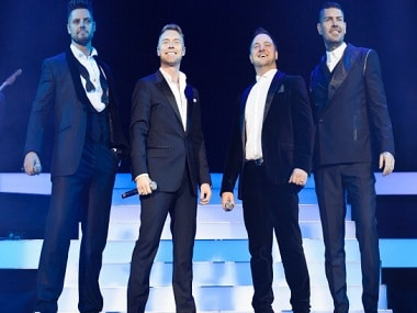 LONDON, UNITED KINGDOM - DECEMBER 20: Keith Duffy, Ronan Keating, Mikey Graham and Shane Lynch of Boyzone performs on stage at the Boyzone 20th Anniversary Tour 2013 at O2 Arena on December 20, 2013 in London, United Kingdom. (Photo by Joseph Okpako/Redferns via Getty Images)