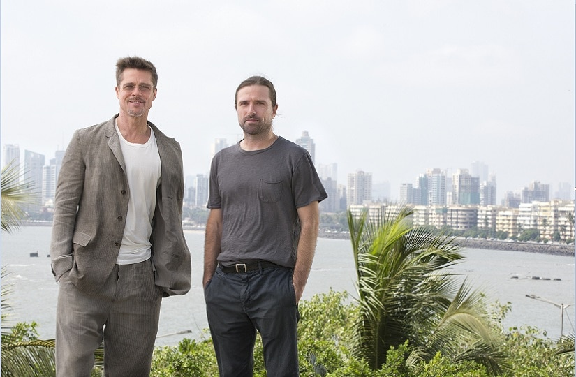 MUMBAI, INDIA – MAY 24 (L-R) Hollywood Movie Star, Brad Pitt with Director David Michôd in Mumbai, India to promote their new film, War Machine, which is releasing on Netflix on May 26, 2017. (Photo by Ritam Banerjee)