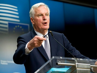 File image of EU chief negotiator Michel Barnier speaking during a media conference after a meeting of EU general affairs ministers in Brussels on Monday. AP