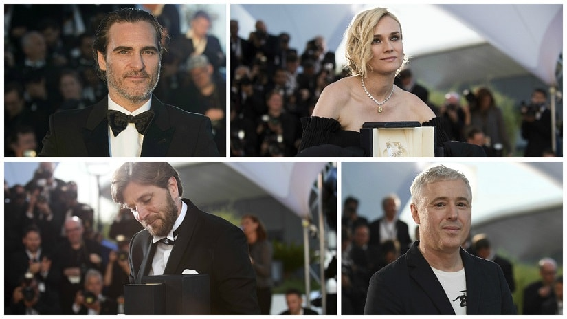 The winners at Cannes 2017 — Joaquin Phoenix, Diane Kruger, Robin Campillo (120 Beats Per Minute), Ruben Östlund (The Square)