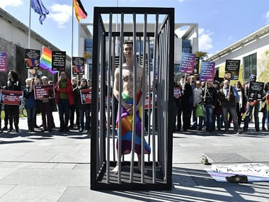 File image of a LGBT activist protesting gay persecution in Chechnya in Berlin. Getty Images