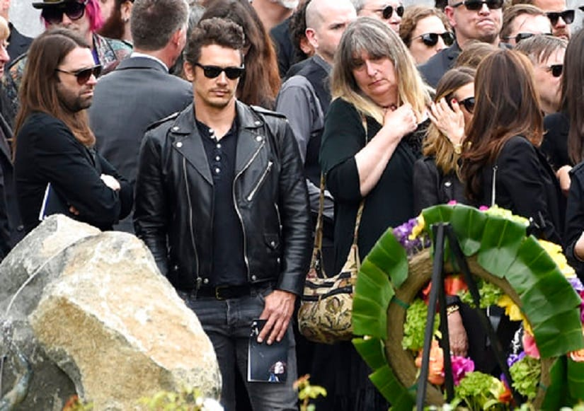 James Franco, second left, attends a funeral for Chris Cornell at the Hollywood Forever Cemetery on Friday, May 26, 2017, in Los Angeles. (Photo by Chris Pizzello/Invision/AP)