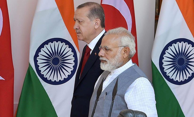 RT Erdogan and Narendra Modi in New Delhi. PTI