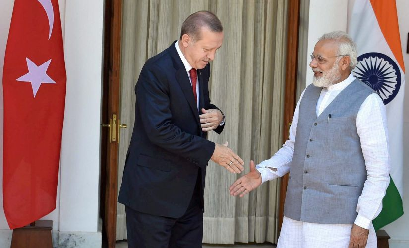 Prime Minister Narendra Modi with Turkish President Recep Tayyip Erdogan before a meeting at Hyderabad house in New Delhi on Monay. PTI