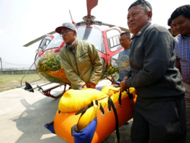 Body of Nepali mountain climber Min Bahadur Sherchan, 85, arrives at a hospital after he died at base camp while on his attempt to become the oldest person to climb Mount Everest. Reuters
