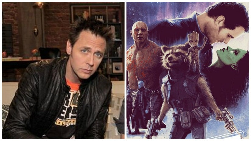 Director James Gunn; poster of Guardians of the Galaxy. Images via Twitter
