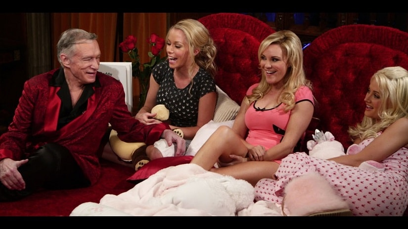 'Hef' with his former girlfriends (and Girls Next Door stars) Kendra Wilkinson, Bridget Marquardt and Holly Madison