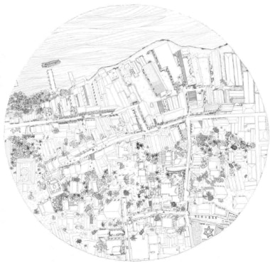 A drawing of Jew Town in Mattancherry made by the students of School of Environment and Architecture, Mumbai for an exhibition at the Kochi-Muziris Biennale.