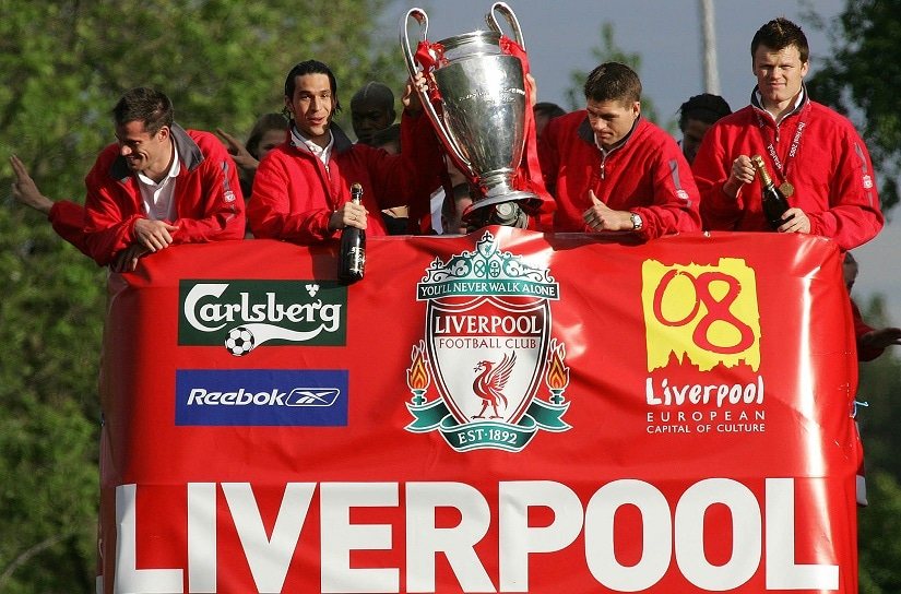 Luis Garcia (L) holding the Champions League trophy with Steven Gerrard in 2005. AFP