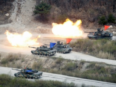 South Korean Army K1A1 and US Army M1A2 tanks fire live rounds during a US-South Korea joint live-fire military exercise, at a training field, near the demilitarized zone, separating the two Koreas in Pocheon, South Korea. Reuters