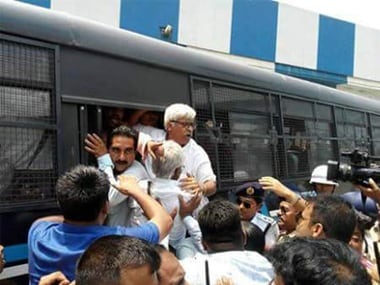 File image of CPI(M) leader Sujan Chakraborty being arrested. Twitter @Comrade_India