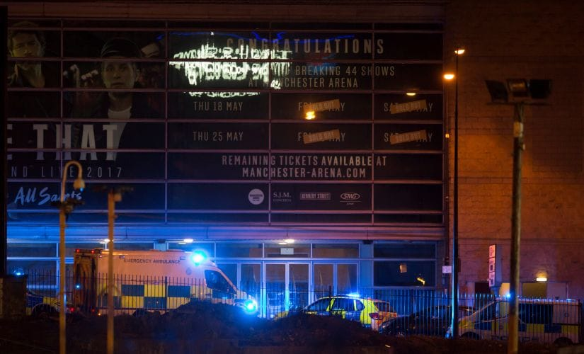 The scene outside Manchester Arena on Monday. Reuters