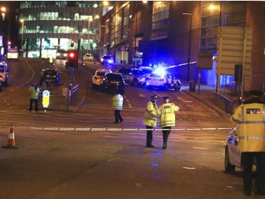 Police cordon off the area around the Manchester Arena. AP