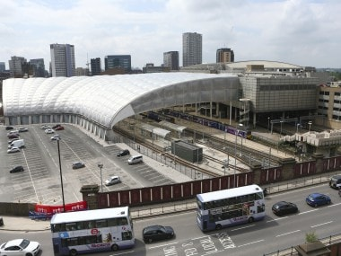 A view of Victoria Railway Station and the Manchester Arena in Manchester. AP