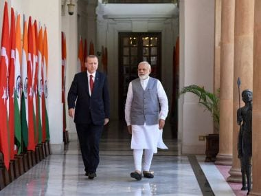 Prime Minister Narendra Modi with Turkey President Recep Tayyip Erdogan in New Delhi on Monday. PTI