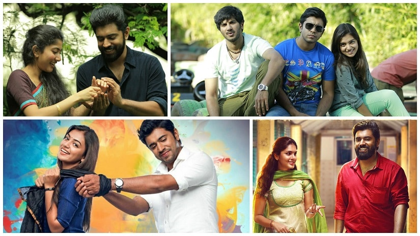 (Clockwise from top left) Premam, Bangalore Days, Sakhavu, Ohm Shanthi Oshaana are among the films that cemented Nivin Pauly's status as a superstar