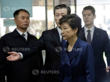 Ousted South Korean President Park Geun-hye arrives for questioning on her arrest warrant at the Seoul Central District Court in Seoul, South Korea. Reuters.