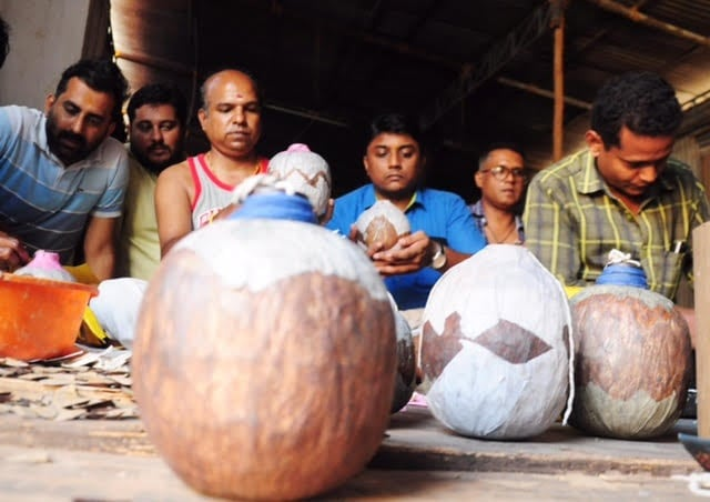 Fireworks being assembled ahead of Pooram. Image procured by author