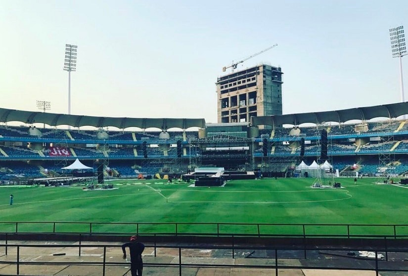 A look at the DY Patil Stadium in Mumbai, in the hours before Justin Bieber's Purpose India Tour concert. Image via Twitter