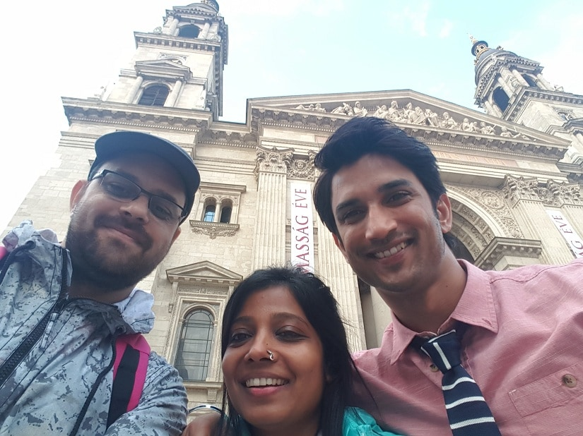 Screenwriters Siddharth Singh and Garima Wahal with Sushant Singh Rajput.