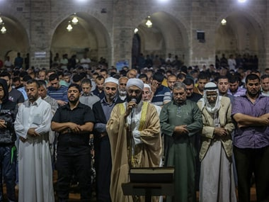 Muslims perform the first 'Tarawih' prayer on the eve of Ramadan in Gaza. Getty Images