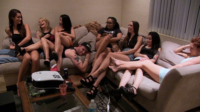 Riley Reynolds (sleeping on the couch), in a still from 2015's Hot Girls Wanted