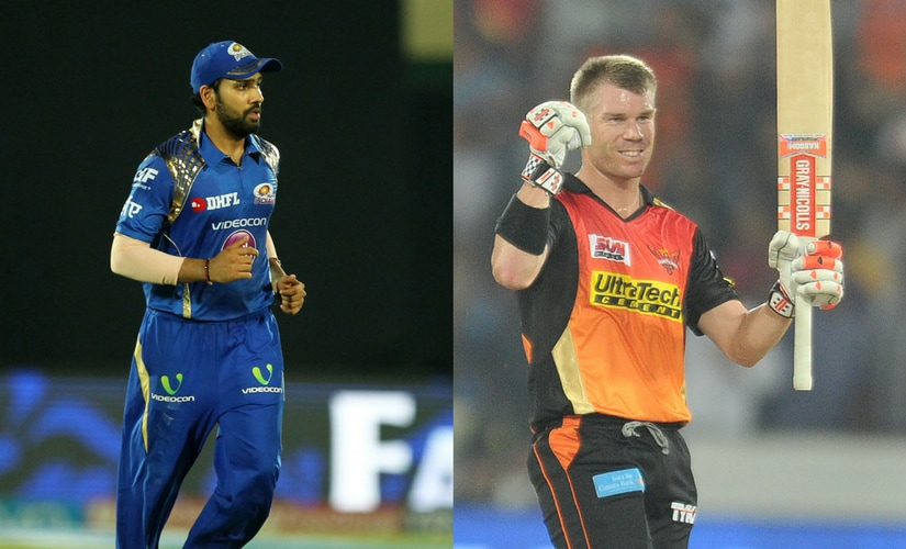 Mumbai Indians, under Rohit Sharma (L) take on David Warner's Sunrisers Hyderabad.