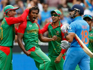 Bangladesh players celebrate after dismissing Virat Kohli in the 2015 World Cup Q/F. Reuters
