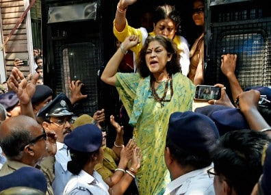 BJP leader Rupa Ganguly being released from police custody. PTI