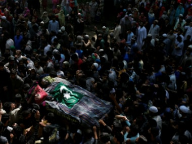 File image of people carry the body of Hizbul Mujahideen, chief Sabzar Ahmad Bhat in Ratsuna, south of Srinagar. Reuters