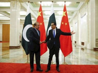Chinese Premier Li Keqiang with Pakistani Prime Minister Nawaz Sharif in Beijing on Saturday. PTI