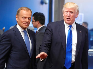 European Council president Donald Tusk (L) with US president Donald Trump in Brussels on Thursday. AP