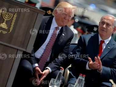 Israel's Prime Minister Benjamin Netanyahu (R) participates in a welcoming ceremony for U.S. President Donald Trump at Ben Gurion International Airport in Tel Aviv, Israel. Reuters