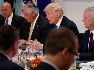 US president Donald Trump speaks during a meeting with President of the European Commission Jean-Claude Junker and European Council president Donald Tusk at European Union headquarters. AP