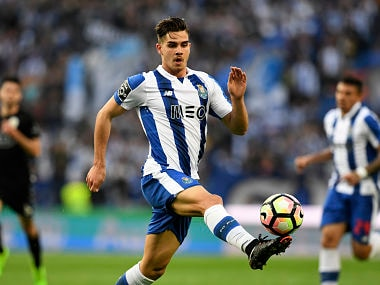 File image of Porto's forward Andre Silva controls the ball during the Portuguese league football match. AFP