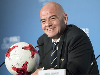 FIFA President Gianni Infantino gives a press conference during the 67th FIFA Congress in the Bahraini capital Manama on May 11, 2017. / AFP PHOTO / JACK GUEZ