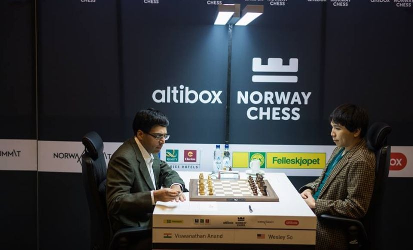 Viswanathan Anand faced Wesley So in the fifth round of the Norway chess 2017